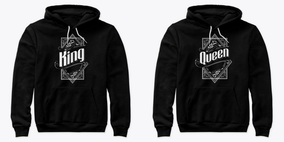 Classy King and Queen Couple Hoodies