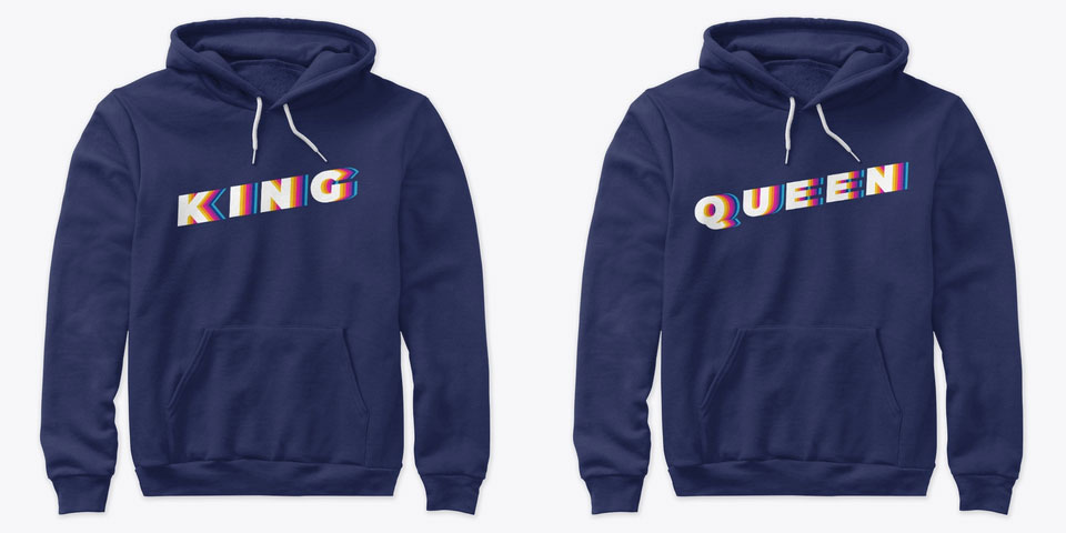 Glitch King and Queen Couple Hoodies