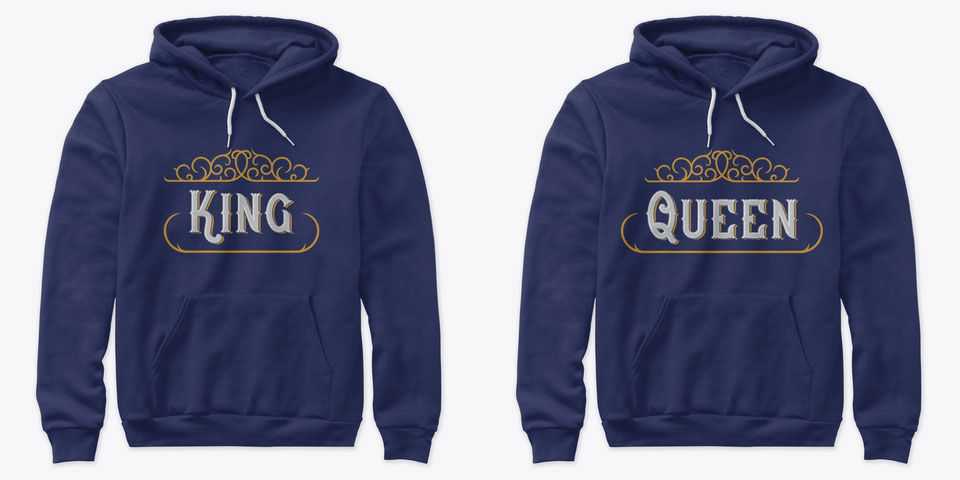 Majestic King and Queen Couple Hoodies