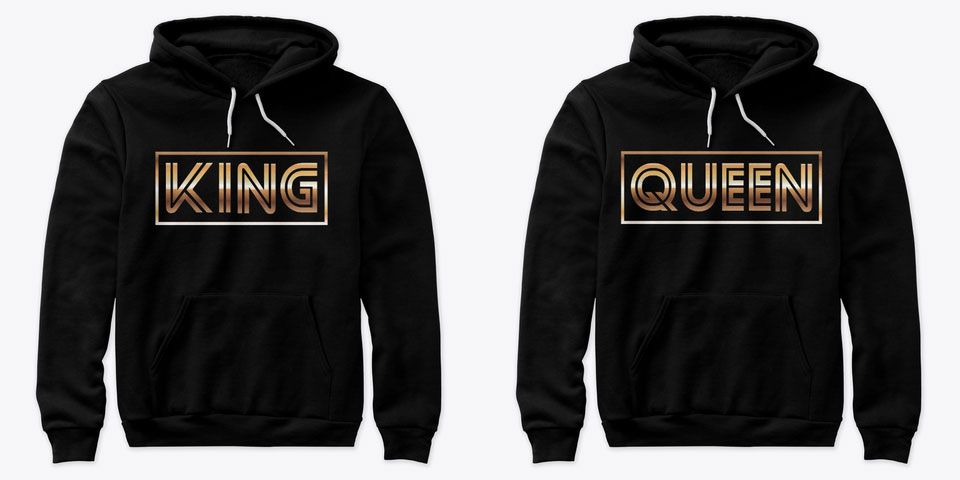 Modern King and Queen Couple Hoodies