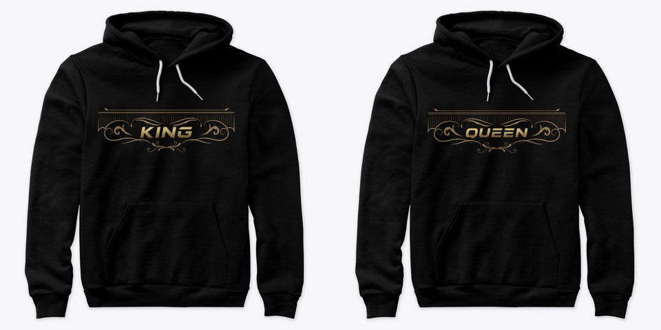 Royal King and Queen Couple Hoodies
